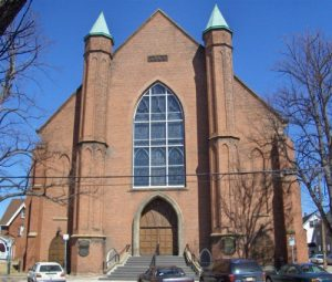 Front of the brick church, Trinity United Church, located in Charlottetown, PEI.