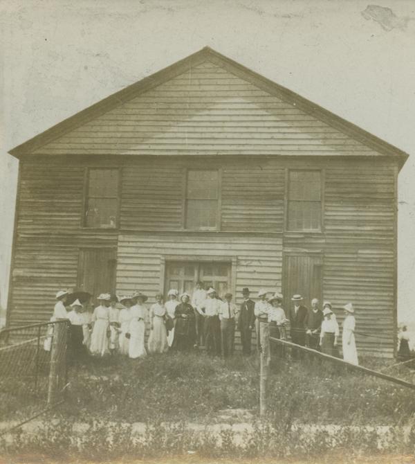 Congregation outside Hay Bay Methodist Church