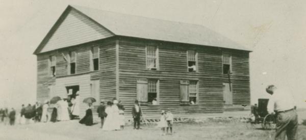 People leaving the Hay Bay Methodist Church