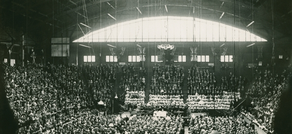 Commissioners and delegates attending the inaugural service of the United Church of Canada held in Mutual Street Arena, Toronto.