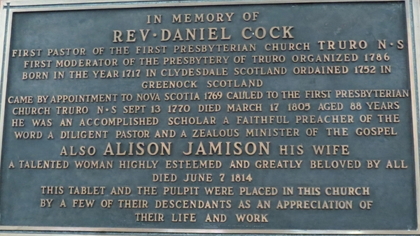 Plaque commemorating Daniel Cock and his wife Alison Jamison.